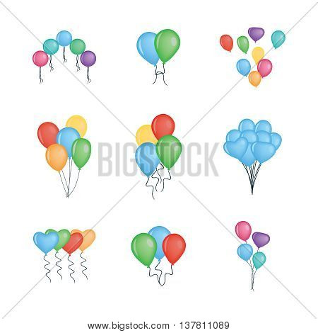 Balloons vector collection isolated on white background. Eps10. Colorful bunch of balloons for party and celebrations. Vector illustration.