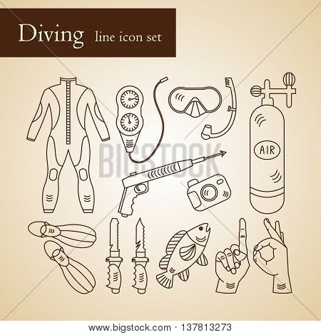 Vector line icons with diving equipment. Linear icons of scuba, oxygen balloon, diver knife, harpoon, spear gun, gauge, camera. poster