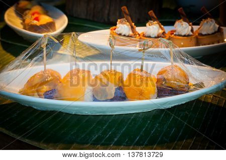 Dessert and fruit corner at a buffet line in wedding party.