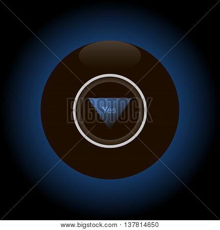 Magic 8 ball on dark gradient background vector illustration.