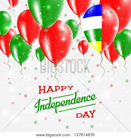 Central African Republic Vector Patriotic Poster. Independence Day Placard With Bright Colorful Ball
