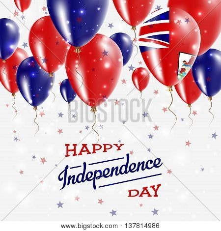 Bermuda Vector Patriotic Poster. Independence Day Placard With Bright Colorful Balloons Of Country N
