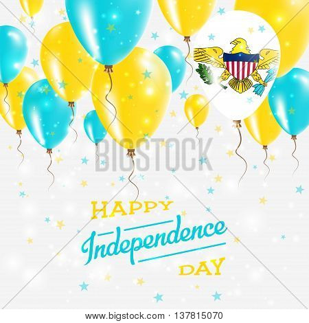 Virgin Islands, U.s. Vector Patriotic Poster. Independence Day Placard With Bright Colorful Balloons