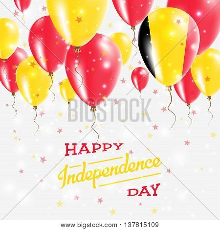 Belgium Vector Patriotic Poster. Independence Day Placard With Bright Colorful Balloons Of Country N