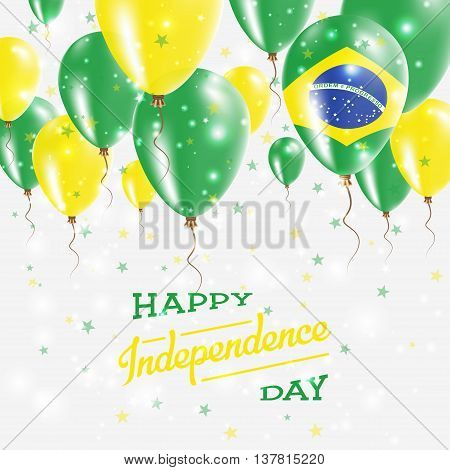Brazil Vector Patriotic Poster. Independence Day Placard With Bright Colorful Balloons Of Country Na