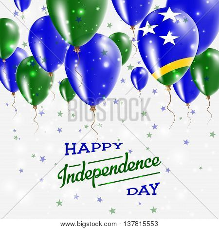 Solomon Islands Vector Patriotic Poster. Independence Day Placard With Bright Colorful Balloons Of C