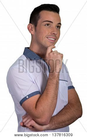 Handsome young caucasian man with arms crossed and thinking