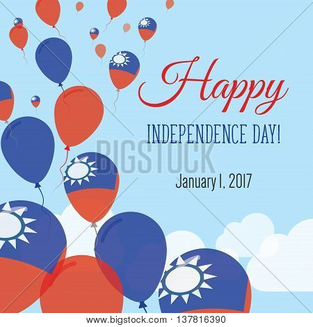 Independence Day Flat Greeting Card. Taiwan, Republic Of China Independence Day. Taiwanese Flag Ball
