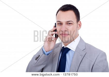 cluseup picture of a smiling Businessman on Phone poster
