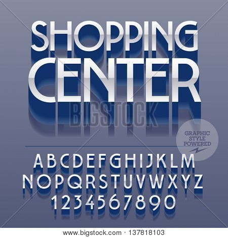 Set of slim glossy metal alphabet letters, numbers and punctuation symbols. Vector reflective logotype with text Shopping center. File contains graphic styles