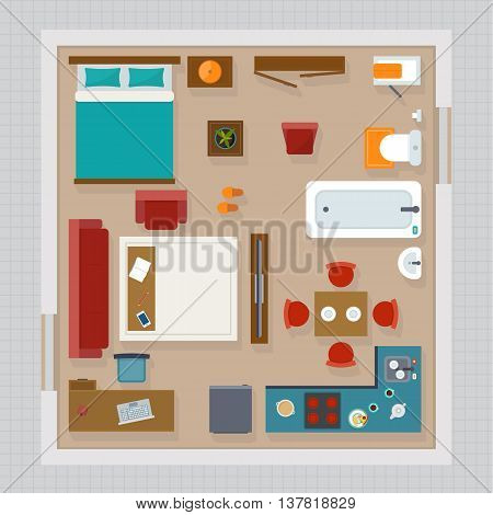 Detailed apartment furniture overhead top view. Apartment room plan. Flat style vector illustration.