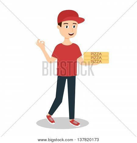 Vector illustration of pizza delivery boy handing three pizza boxes