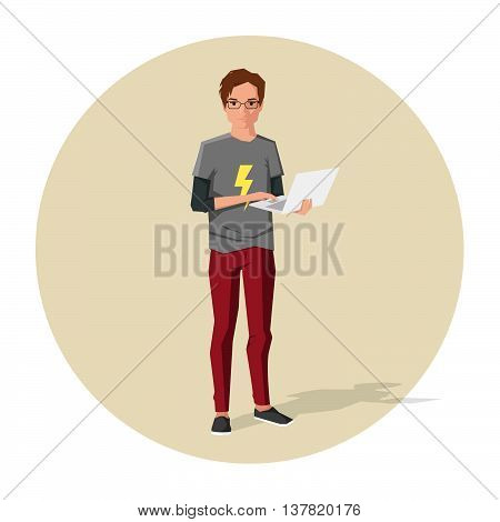 Vector illustration of cartoon guy or nerd with notebook in his hands
