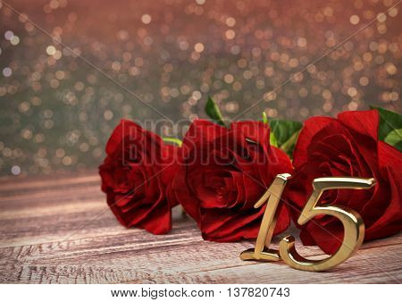 birthday concept with red roses on wooden desk. 3D render - fifteenth birthday. 15th
