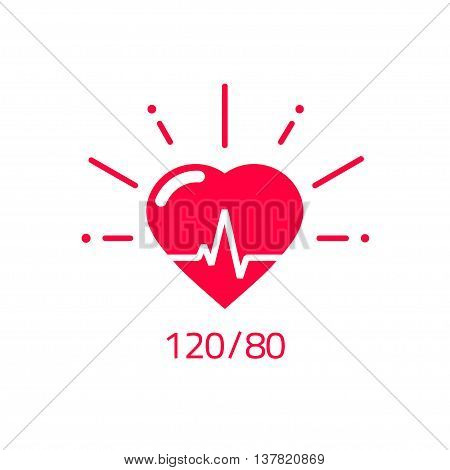 Blood pressure vector icon, heart cheering cardiogram, good health logo, healthy pulse flat symbol, medical pulsometer element, heartbeat label hospital equipment concept design isolated on white sign