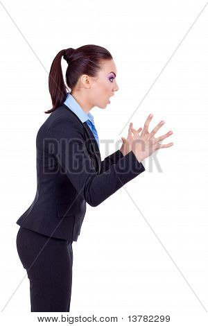 Business Woman Screaming To A Side