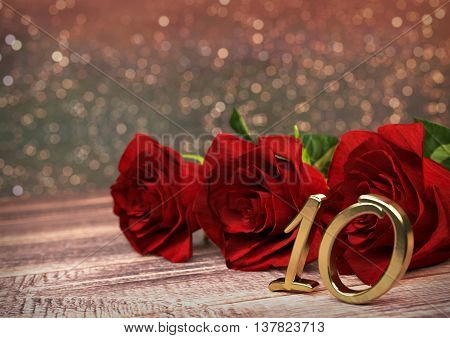 birthday concept with red roses on wooden desk. 3D render - tenth birthday. 10th