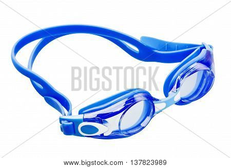Blue swimming goggles isolated on white background