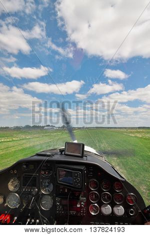 View from the light plane co-pilot's seat on landing and touchdown