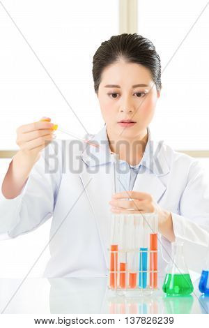 Asian Female Forensic Scientist Working On Chemicals