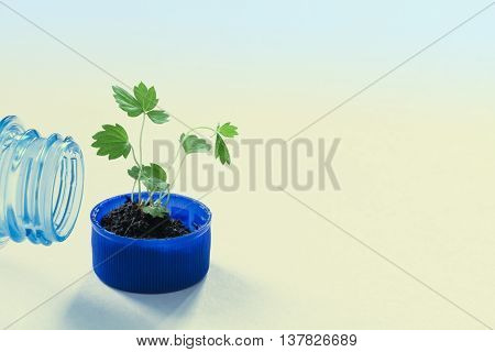 Pure water eco design conceptual poster template. Empty bottleneck and green sprout in a bottle cap. macro view pattern and texture leaves. Gradient background, soft focus
