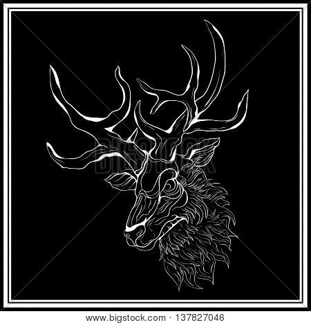 White deer on the black background. Deer in a white frame. Hand-drawing illustration.