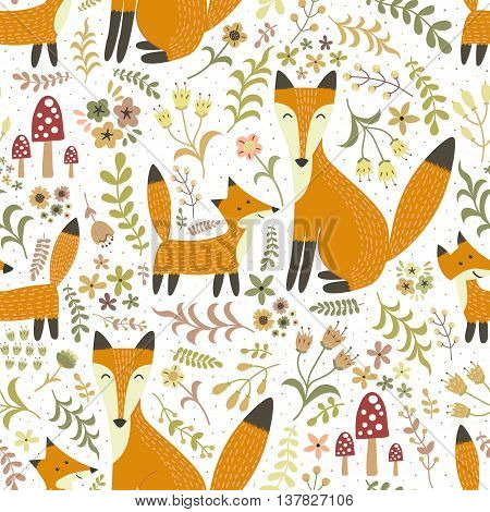 Adorable seamless pattern with cute foxes - Mother fox and her baby. Forest vector texture in childish style