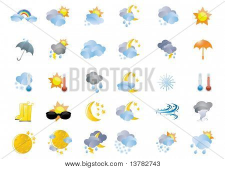 Collection of different weather icons, vector illustration