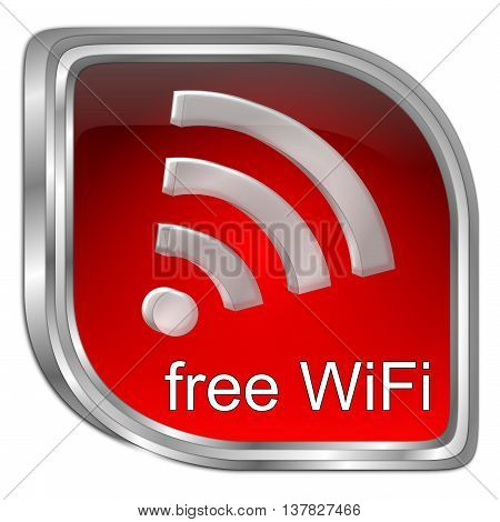 red free wireless WiFi button - 3D illustration