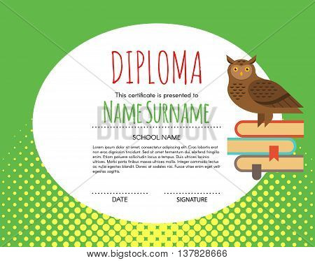 Vector Preschool Elementary Kids Diploma certificate background design template. School diploma. Owl as a symbol of knowledge is sitting on book.
