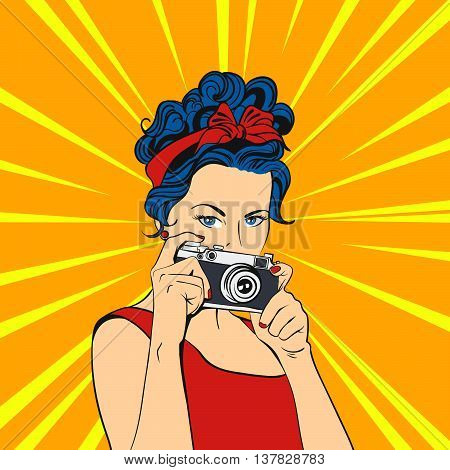 Vector illustration of pop art beautiful young woman. Retro Style. Photographer / Woman holding photographic camera.