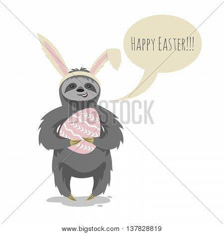 Vector illustration of happy cute cloth with bunny or rabbit ears on his head holding Easter egg. Speech bubble and the words