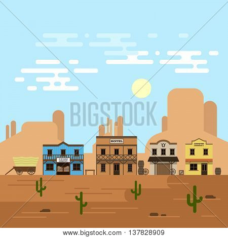 Vector illustration of an old western town in a daytime. Saloon hotel and other detailed buildings and objects. Wild West desert landscape background.