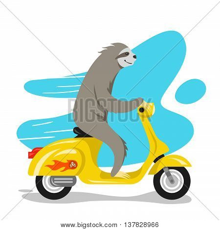 Vector illustration of happy cute sloth riding on scooter. Retro style transport vintage looking moped. Vector print for t-shirt or poster design.