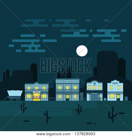 Vector illustration of an old western town at night. Saloon hotel and other detailed buildings and objects. Wild West desert landscape background.