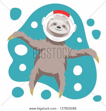 Vector illustration of dreamy happy sloth floating in space in space helmet. Vector print for t-shirt or poster design.
