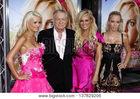 Hugh Hefner, Holly Madison, Bridget Marquardt and Kendra Wilkinson at the Los Angeles premiere of 'House Bunny' held at the Mann Village Theatre in Westwood, USA on August 20, 2008.