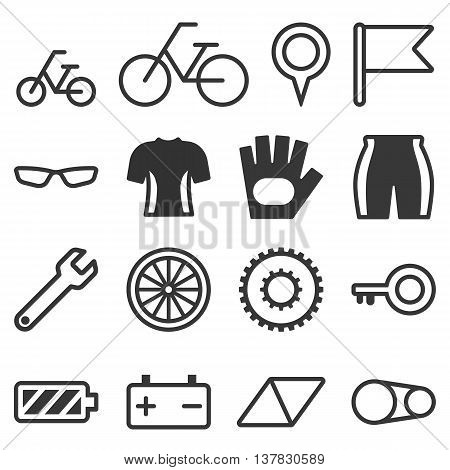 Bicycle illustration, Bicycle icon with elements, Bicycle sign in thin line