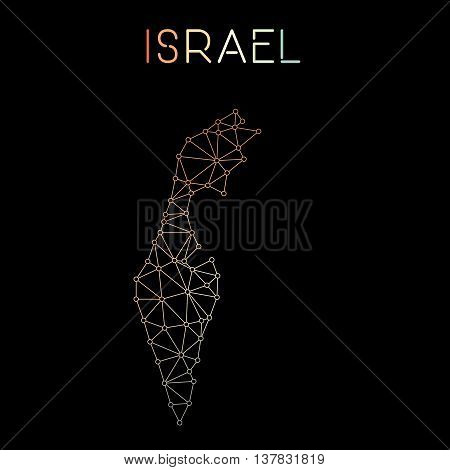 Israel Network Map. Abstract Polygonal Map Design. Network Connections Vector Illustration.