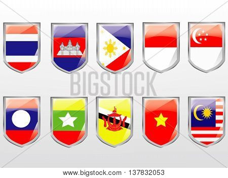 Vector - ASEAN flag set , AEC