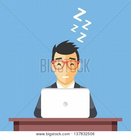 Businessman sleeping at work. Man asleep at desk. Taking a nap concept. Flat design vector illustration