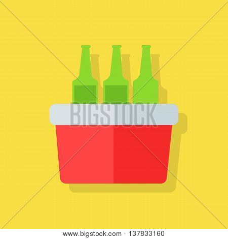 Portative beach freezer bag flat design icon. Picnic cooling lunch box isolated on yellow background. Small freezer-bag in red color with drinks. Vector illustration