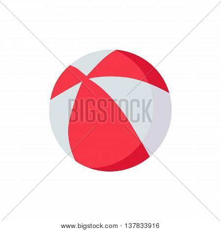 Colorful red and white beach ball icon isolated on white background. Vector illustration