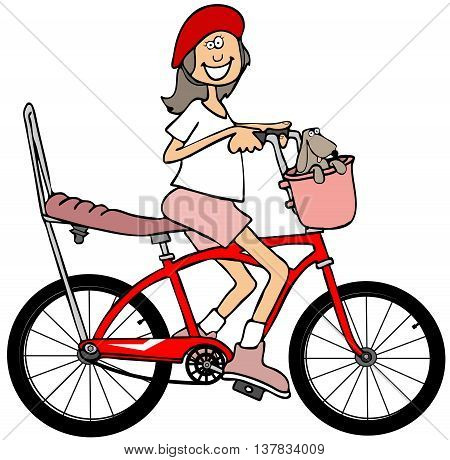 Illustration of a small girl wearing a helmet while riding a red bicycle with a banana seat and extended handlebars.
