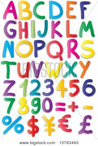 Vector illustration of magnets of alphabet, numbers, maths, currencies
