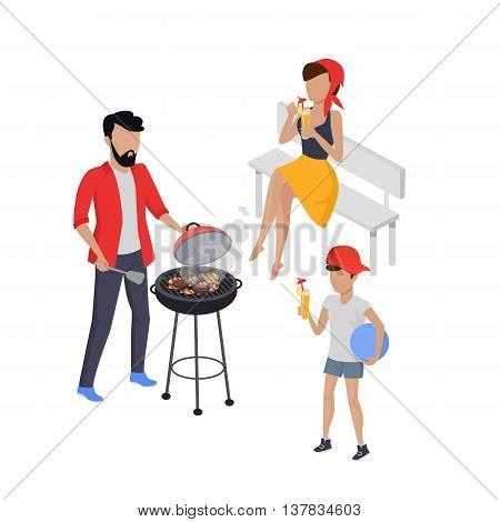 Father and son preparing barbecue design flat. Dad prepares a barbecue and nearby there is a son, and drink the juice holding the ball in his hand isolated on a green background. Vector illustration