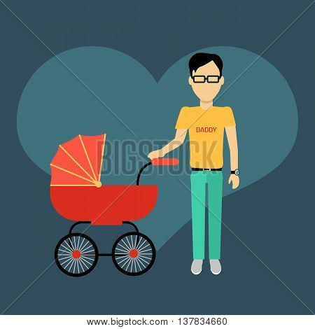 Father with a baby carriage banner design flat. Parent father walking with baby in the baby carriage. Daddy young happy with toddler, male and fatherhood, love and happiness, vector illustration