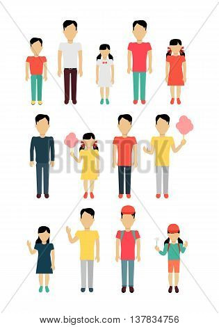 Set of father with children banner concept. Daddy with daughter and son. Family and parent, girl and boy with dad, happiness together love parenting brother and sister vector illustration