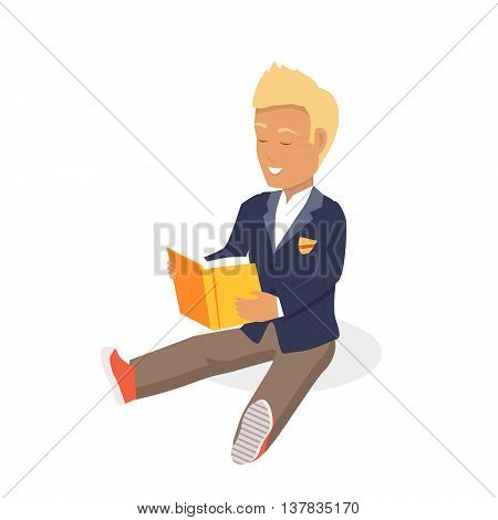 Young blonde haired man student happy enjoying reading big thick book. Student sits and reads a book. Boy is a reading big book. Reading kid. Reading student. Kid reading open book sitting on floor