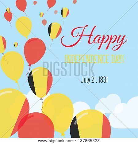 Independence Day Flat Greeting Card. Belgium Independence Day. Belgian Flag Balloons Patriotic Poste